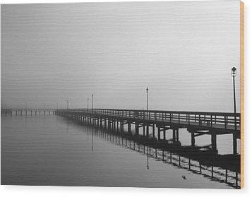 Foggy Pier Wood Print by Kimberly Oegerle