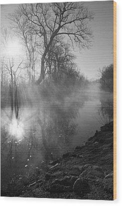 Foggy River Morning Sunrise Wood Print