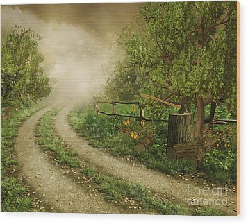Foggy Road Wood Print by Boon Mee