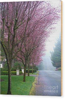 Foggy Road Wood Print by Tanya  Searcy