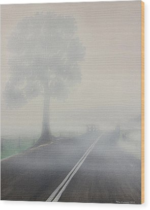 Foggy Road Wood Print