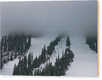 Foggy Ski Resort Wood Print