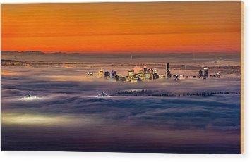 Foggy Sunrise Wood Print by Alexis Birkill