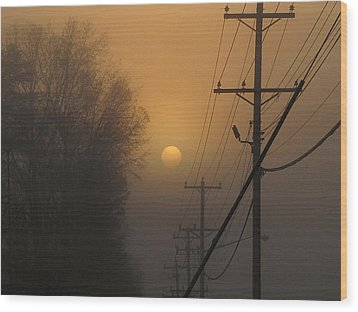 Wood Print featuring the photograph Foggy Sunrise by Greg Simmons