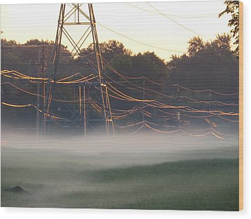 Wood Print featuring the photograph Foggy Sunrise Wires by Nikki McInnes