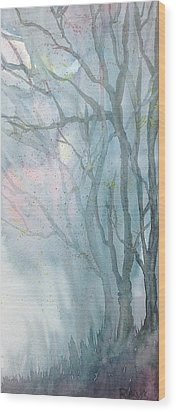 Foggy Trees Wood Print by Rebecca Davis