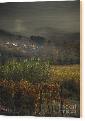Foggy Tuscan Valley  Wood Print