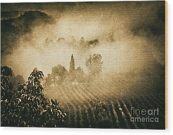 Wood Print featuring the photograph Foggy Tuscany by Silvia Ganora