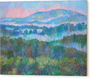Foggy View From Mill Mountain Wood Print by Kendall Kessler
