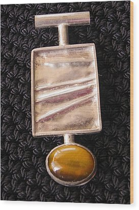 Folded Silver Pendant Wood Print by Patricia  Tierney