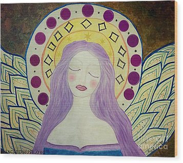 Folk Angel Primitive Blessings  Wood Print by Sacred  Muse