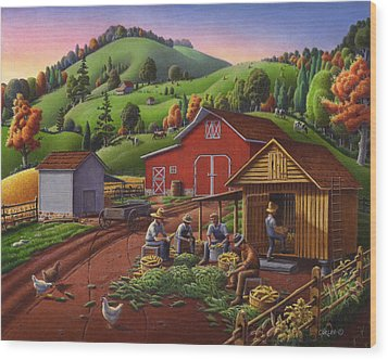 Folk Art Americana - Farmers Shucking Harvesting Corn Farm Landscape - Autumn Rural Country Harvest  Wood Print by Walt Curlee
