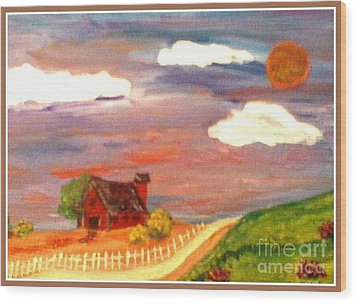Wood Print featuring the painting Folk Art by Bobbee Rickard