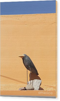 Folk Art Crow Todos Santos Wood Print by Linda Queally