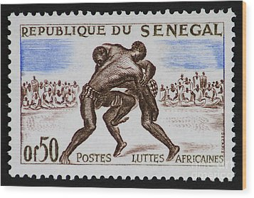 Folk Wrestling Vintage Postage Stamp Print Wood Print