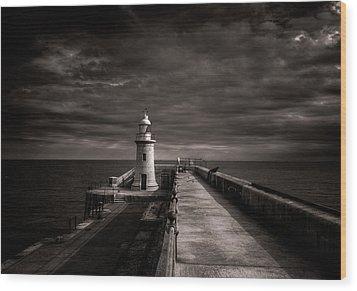 Folkestone Lighthouse Wood Print by Ian Hufton