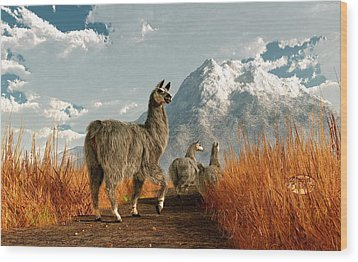 Follow The Llama Wood Print