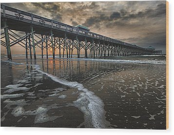 Folly Beach Dawn Wood Print