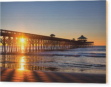 Folly Beach Pier At Sunrise Wood Print by Lynne Jenkins