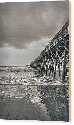 Wood Print featuring the photograph Folly Beach Pier by Sennie Pierson