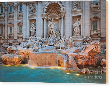 Fontana Di Trevi Wood Print by Inge Johnsson