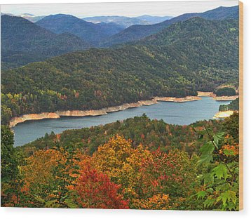 Fontana Lake In Fall Wood Print