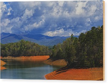 Fontana Lake Storm Wood Print