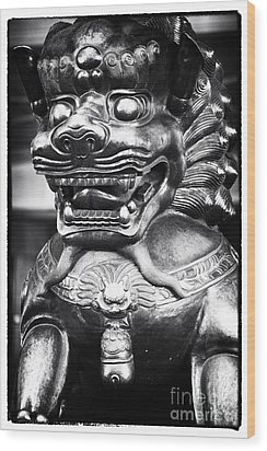 Foo Dog Wood Print by John Rizzuto