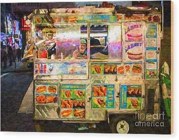 Food Cart In New York City Wood Print by Diane Diederich