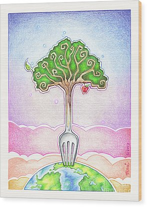 Food For Life Wood Print by Pop Art Diva