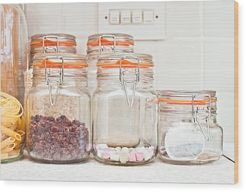 Food Jars Wood Print by Tom Gowanlock