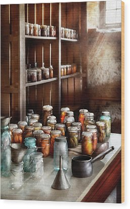 Food - The Winter Pantry  Wood Print by Mike Savad
