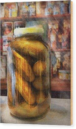 Food - Vegetable - A Jar Of Pickles Wood Print by Mike Savad