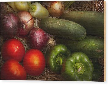 Food - Vegetables - Onions Tomatoes Peppers And Cucumbers Wood Print by Mike Savad