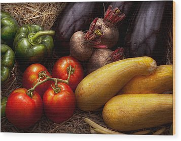Food - Vegetables - Peppers Tomatoes Squash And Some Turnips Wood Print by Mike Savad