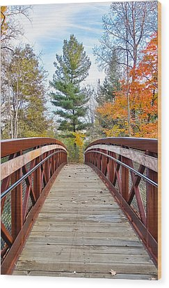 Foot Bridge In Fall Wood Print