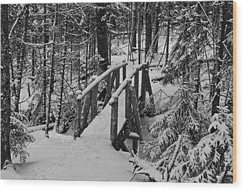 Foot Bridge In Winter Wood Print by David Rucker
