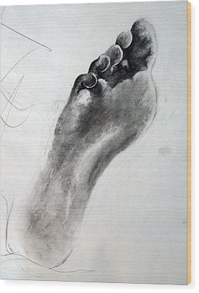 Foot Study Wood Print by Corina Bishop
