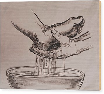 Foot Washing Wood Print by Heidi E  Nelson