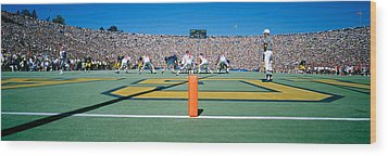 Football Game, University Of Michigan Wood Print by Panoramic Images