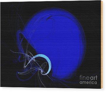 Football Helmet Blue Fractal Art 2 Wood Print by Andee Design