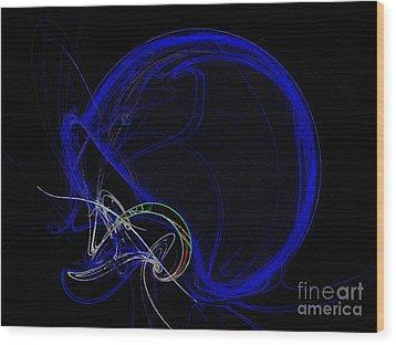 Football Helmet Blue Fractal Art Wood Print by Andee Design