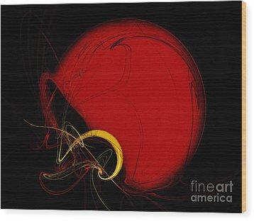 Football Helmet Red Fractal Art 2 Wood Print by Andee Design
