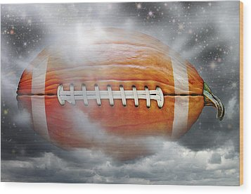 Football Pumpkin Wood Print by James Larkin