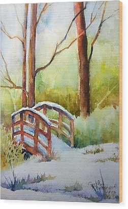 Footbridge At Goosehaven In Lafayette Colorado Wood Print
