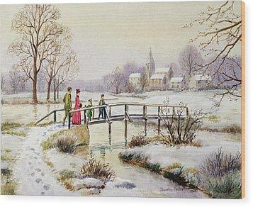 Footbridge In Winter Wood Print by Stanley Cooke