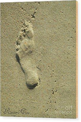 Footprint Wood Print by Lorraine Heath