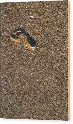 Footprint On Beach Wood Print