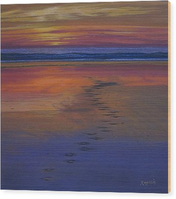 Footprints In The Sand Wood Print by Harvey Rogosin