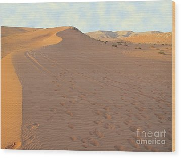Footprints In The Sand Wood Print by Michael Waters